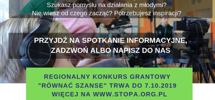 """ZAPRASZAMY DO UDZIAŁU W REGIONALNYM KONKURSIE GRANTOWYM """"RÓWNAĆ SZANSE""""!"""